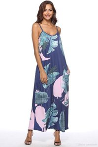 Mulheres vestido floral 2019 Praia Spaghetti Strap Casual solta vestidos longos New 19ss Verão