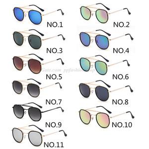 Diseñador UV400 Gafas de sol redondas mujeres de los hombres de Steampunk gafas de marca de moda retro de los vidrios de Sun Classic interior y exterior doble círculo de las lentes