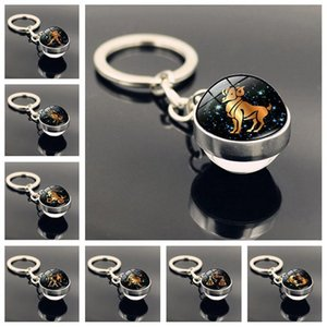 Zodiac Sign Keychain 12 Constellation Leo Virgo Libra Scorpio Sagittarius Keychain Double Side Glass Ball Keyring Best Friend Birthday Gifts
