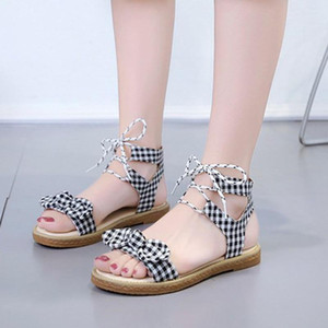 Hot Sale-2020 Ladies Sandals Women Ankle Flat-Bottomed Sandals Fashion Women's Party Open Toe Shoes Bow Beach Shoes