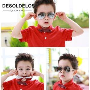 DesolDelos 2020 Klasik Vintage Güneş Çocuklar Renkli Ayna Gözlük Erkek / Kız Metal Çerçeve Çocuklar Sevimli Açık Gözlükler