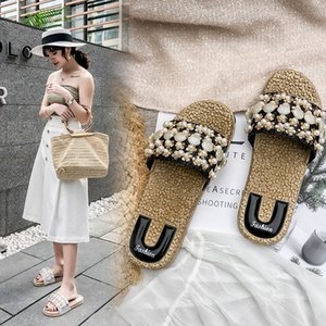 Islike beaded slippers female summer fashion wear wild personality cool sandals casual cute poster holiday beach shoes