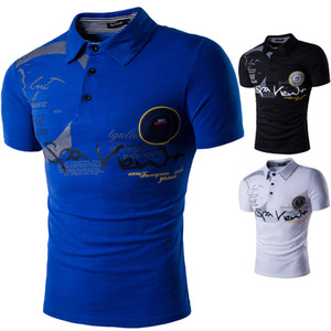 Casual Polos Men Lapel Brand Letters Print Crew Neck Foreign Trade European Wind New Summer Fashion Short Sleeve