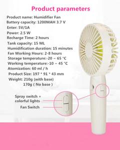 2020 new mini USB humidifier Nano spray small fan humidifier desktop holder, manual humidifier gift, 3speed brushed motor, free shipping