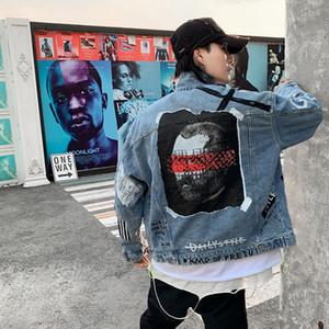 2020 Männer Trendy Aufmaß Hip Hop Jeansjacke männliche High Street Hip Hop loser beiläufiger Jean Coat rapper Drucke Oberbekleidung