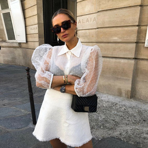High Street Vintage Mulheres Sheer Mesh Lace Polka Dot Puff Sleeve Button Down Ladies See-through Top Shirt Blusa
