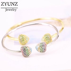 4PCS, Adjustable Size Fashion Brand Open Cuff Rainbow CZ Crystal Heart Bangle Bracelet Jewelry for Women Gift
