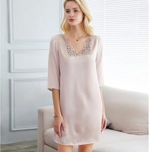 Atacado Yiyuan seda verão pijamas sentido mangas feminina nightdress bordado saia serviço de casa de seda de seda 100%