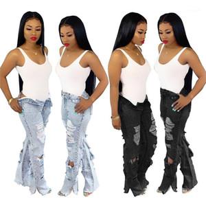 Mädchen mit hohen Taille Mode Hosen der Frauen Knopf Reißverschluss Jeans Frühling gerade Loch-Jean-lange Hosen