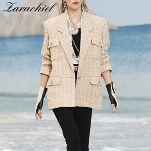 Designer Runway Tweed Casaco De Lã Casaco 2019 Outono Inverno Mulheres Entalhado Único-Botão Dourado Ternos Pequenos Outerwear Bolso Xadrez