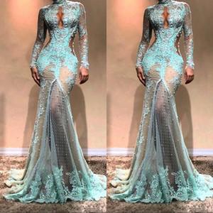 Lindo mangas compridas de gola alta sereia vestidos de noite ver através do laço formal vestidos de baile vestidos de celebridades lado fraque