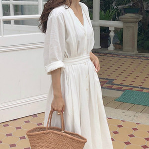 18ZWL KIYUMI Boho Dress Women's Cotton Long Dresses 2019 Autumn Long Sleeve Button Cardigan Loose Gypsy Chic Beach White Casual Dress 3 ord