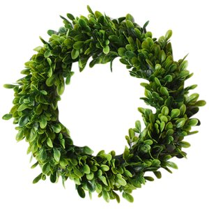 HOT-Leaf   Flower Wreath, 17.7 Inch Eucalyptus Wreath Round Wreath Front Door Green Garland Garland For Home Office Wall Christm
