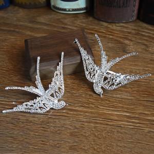 Großhandel koreanische Braut Hochzeit Crown Hairpin Schöne Schwalben-Blumen-Form Braut Kopfschmuck Randklemme