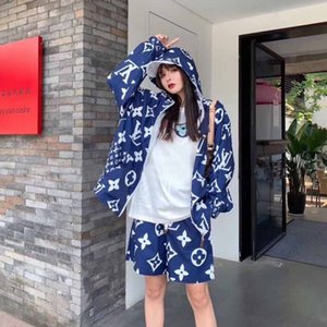 Web celebrity set in the same style printed Korean loose long sleeve cardigan thin coat sunscreen + shorts