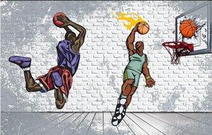 3d murales del papel pintado para las paredes 3 d Nostálgico pared de ladrillo de baloncesto trapecio volcada KTV bar de la habitación 3d wallpaer personalizada decoración mural fotográfico en casa