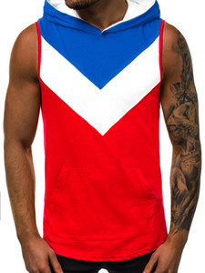 Hommes Séchage rapide Sport Gilet Couleur Patchwork respirant rayé à capuche Débardeurs Casual Hommes d'été T-shirts en cours