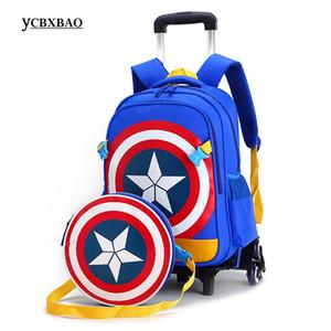 Borse Trolley New Primary School Captain America Bambini Anime Zaino Schoolbag Bambino con ruote; Borse scuola con carrello J190522