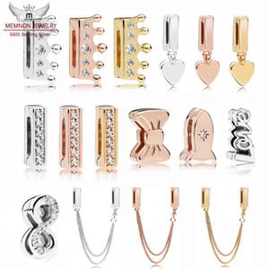 100% 925 Sterling Silver Reflexions coeur pendentif Clip Charmes briller bow perles rose sécurité chaîne charme Fit perle Bracelet Original fabrication de bricolage