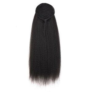 Mujeres Bollo de maíz sintético Clip atado en sombreros Pelucas Cola de caballo Puff alta Sin costura Larga burbuja Afro Extensiones de cabello Rizado Recto