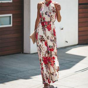Women Elegant A Line Flower Long Dress Summer Vintage Printing Party Vestidos Sleeveless Side Split Women Beach Party Sundress New