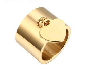 Women Lover's Heart Tag Charm Gold Rings Jewelry High Quality Stainless Steel Rings for Engagement Femme Rings