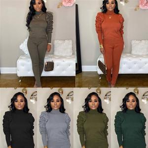 Pile haut du cou Set manches couleur solide Casual manches longues Fashion Designer Famale deux pièces Pantalons femme