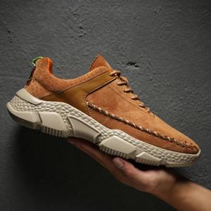 Times New Roman Genuine Leather Mens scarpe casual scarpe Plus Size Outdoor Scarpe da tennis Uomini Mocassini Ultralight traspirante Uomo
