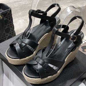 Sommer-Frauen-Sandelholz-Schuh-Frauen-Pumpen-Plattform-Keil-Ferse beiläufige Art und Weise Schleifen-Bling Stern starker alleinige Frauen-Schuhe
