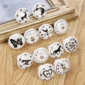 Hot Garden Home Noir Blanc Imprimé ronde Bouton décoratif en céramique, Quincaillerie d'armoires, armoire moderne Meubles Poignée de porte poignées de tiroir
