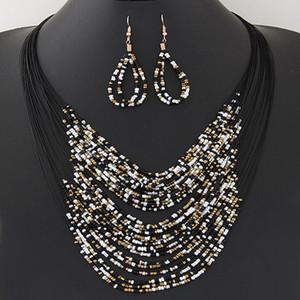 2020 Bigiotteria gioielli di moda Vintage set collana di orecchini rotondi Boemia multistrato Perline colorate istruzione Set