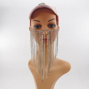Новых женщины Rock Luxury Silver Цвет Цепь Head ювелирные изделия Уникального дизайн Длинного Кристалл кисточка Многослойные Face Mask Цепь Ювелирные изделия