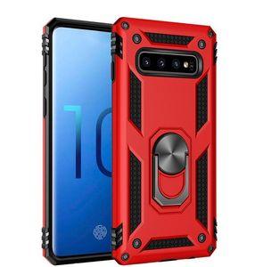 Armure hybride Phone Case Béquille antichocs Etui en silicone pare-chocs Pour Samsung S10 S10E S9 A6 A7 M60 M20 Métal Annulaire Case
