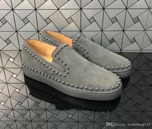 Name Luxusschuhe Mode-rote untere Spitz-Kleid-Schuh-Turnschuh-Partei-Hochzeit Schuhe Herren Loafer Pik Boat Lace-up beiläufige Trainer Grau Suede