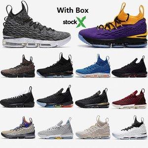 Com Box New-lebron 15 16 XVI tênis de basquete James Ashes LA Rei All Stars Watch the Throne Martin Lakers Preto Igualdade Esporte Sneakers