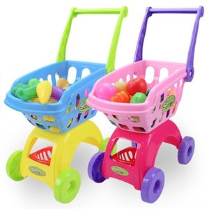 Children Kitchens & Play Food Pretend Play and Dress-up Cart Toy Mini Shopping for kids Cosplay Use Shopping Cartwith 24 Small Items & Expre