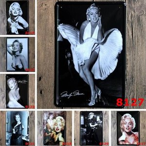 Retro metal Pintura Poster Marilyn Monroe Audrey Hepburn famosa estrela Craft Vintage Tin Sign Bar Pub Signs Wall Art etiqueta LXL308A