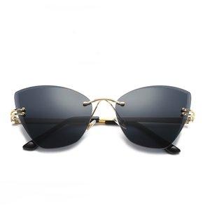 New Frameless Cateye Sonnenbrille Hot Trimmen Frauen Sonnenbrille Randlose Retro Designer Brillen Sommer Gläser 5 Farben Wholeslae