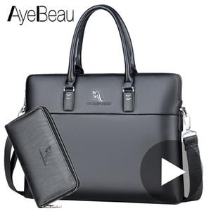 Mano de trabajo negro Oficina de negocios Hombre Messenger Bag Men Briefcase For Document Laptop Bag A4 Partfel Portfolio 2018 J190629