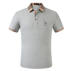 Burburry polos de negro camiseta para hombre de los nuevos del polo hombres clásicos franceses clásico bordado camisa de manga corta de los hombres de diseño