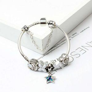 Al por mayor-Nueva Moda Europea Charm Beads Pulseras Pandora Style Pulsera 925 Sterling Silver Snake Chain Bangles DIY Jewelry con Logo