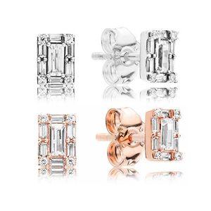 Nouvelle arrivée 925 Sterling Silver Luminous Ice Stud d'oreilles Original Box pour Pandora 18K Or Rose CZ Diamond Earring pour les femmes