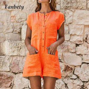 Fanbety 2019 Été Femmes poche Bouton Jumpsuit Filles Casual manches courtes Romper Lady solides courtes, plus la taille Combi-pantalons Combi T200430