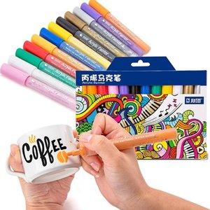 12 개 24 색상 / 설정 STA 아크릴 영구 세라믹 락 유리 도자기 머그컵 목재 직물 캔버스 회화에 대한 마커 펜 페인트