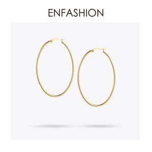 Enfashion Große Creolen Gold Farbe Dünne Linie Ohrringe Edelstahl Kreis Ohrringe Für Frauen Schmuck Großhandel J190628