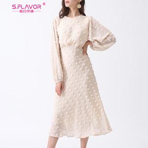 S. SABOR otoño manera de las mujeres del vestido blanco 2019 nuevo de la llegada de la gasa elegante larga para la señora moderna elegante de la fiesta Vestidos de Y200102