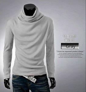 2017 Moda Men coreana Homem solto Pure Color Turtleneck manga comprida Base T-shirt à moda Tops T-shirt do músculo Slim Fit T Top