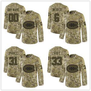 Personalizado Montreal Canadiens 6 Shea Weber 31 Carey Price Camo Salute to Service Limited Hockey Jersey bordado Logotipos cosidos
