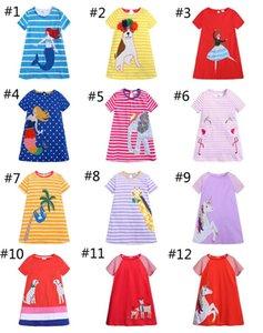 13 개 스타일 소녀 여름 드레스 어린이 줄무늬 기린 플라밍고 동물 프린트 드레스 코튼 캐주얼 유아 드레스 INS 아기 의류