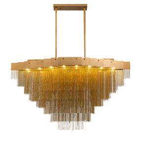 LED Modern Luxury Gold Chain Tassel alluminio Lampada a sospensione del soffitto della decorazione della casa del lampadario a bracci PA0027